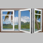 Aluminium horizontal sliding windows bi folding windows Folding window