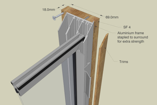 Secondary Glazing - SF4 Subframe, triple track, option for reveal fix